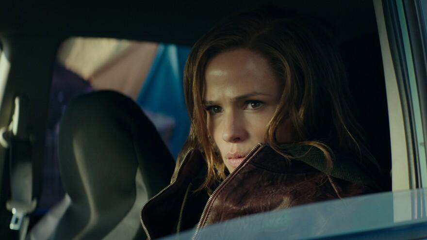 """You can't see me I'm not here!"": Jennifer Garner and a leather jacket co-star in the revenge thriller <em>Peppermint</em>."