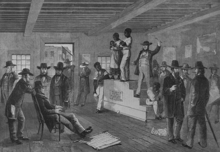 A slave auction  in Virginia. (Rischgitz/Getty Images)