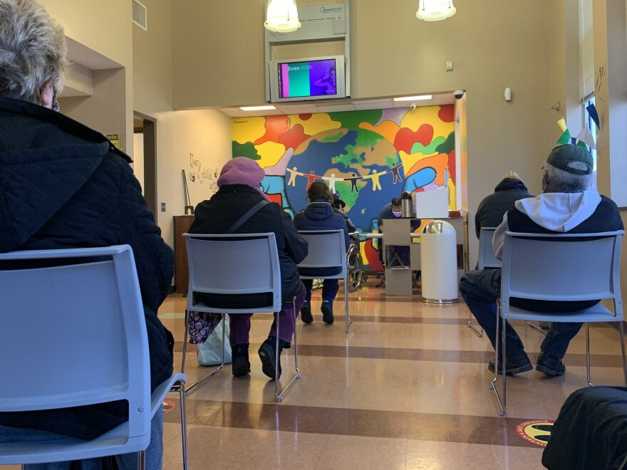 Patients at a community health center in Nashville wait for their vaccine appointment. The Biden administration has announced that federally-funded community health centers around the country will start getting direct shipments of the vaccine.