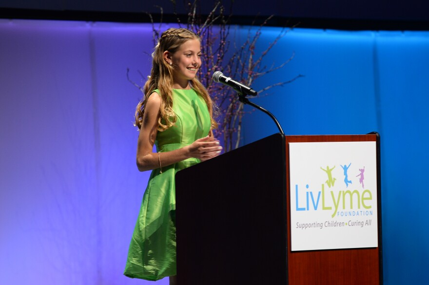 Olivia Goodreau, founder of the LivLyme Foundation and creator of the TickTracker app, speaks at the foundation's 2017 gala. Goodreau contracted Lyme disease after being bit by a tick near Lake of the Ozarks. July 17 2019