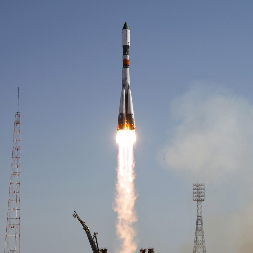 A Russian Progress spacecraft blasts off from the launch pad at the Baikonur cosmodrome, Kazakhstan, on Friday.
