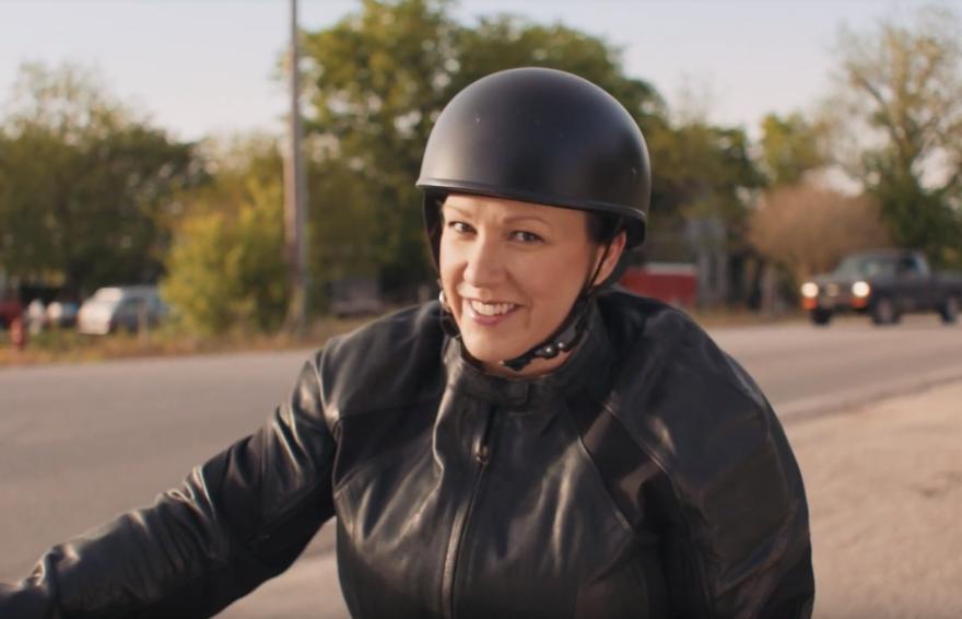 MJ Hegar in her campaign video announcing a run for the U.S. Senate.