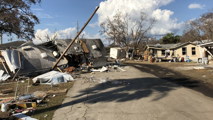 In the community of Highland View, just west of Port St. Joe, the storm surge from Hurricane Michael toppled houses and knocked mobile homes completely over.