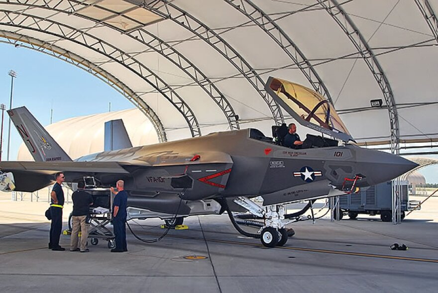 An F-35 Lightning II was recently parked at Tyndall AFB in the Florida Panhandle. Florida's $35 billion slice of the defense budget could be threatened by a lack of Congressional clout.