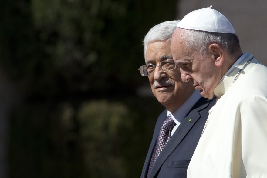Pope Francis meets with Palestinian Authority President Mahmoud Abbas in the West Bank city of Bethlehem on May 25, 2014. The Vatican officially recognized the state of Palestine in a new treaty finalized today.
