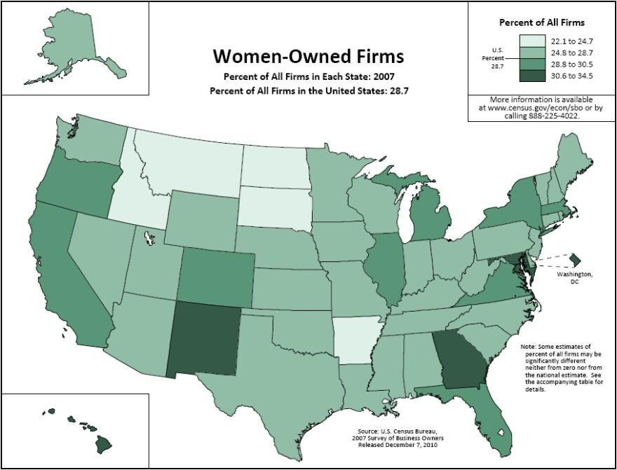 Women owned business Census Bureau map