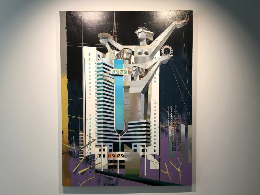 """""""Guangzhou Telecom Building"""" Oil on Canvas, 2017, is also on display at the museum as part of the exhibition."""
