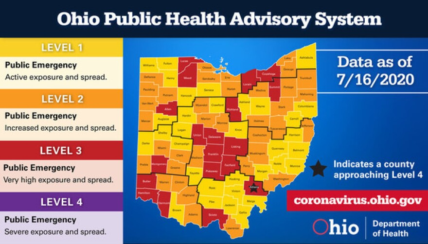 Picture of Ohio coronavirus alert levels by county.