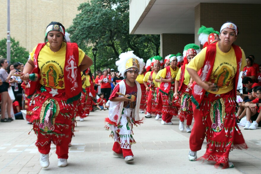 Matachines perofrmed a traditional dance venerating the Virgin de Guadalupe.