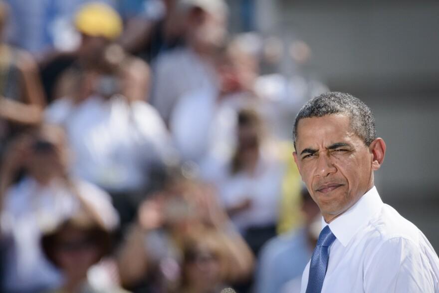 President Obama speaks on the Pariser Platz in front of the Brandenburg Gate on Wednesday in Berlin.