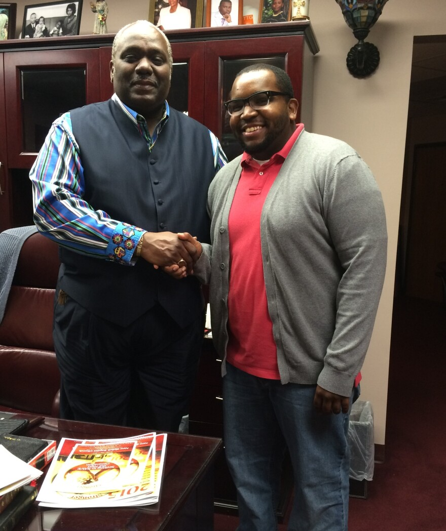 New Shiloh Baptist Rev. Harold Carter Jr. (left) and Caleb Studivant, a 24-year-old member of the church, have closely watched the unrest surrounding the death of Freddie Gray in Baltimore and the community's reaction.