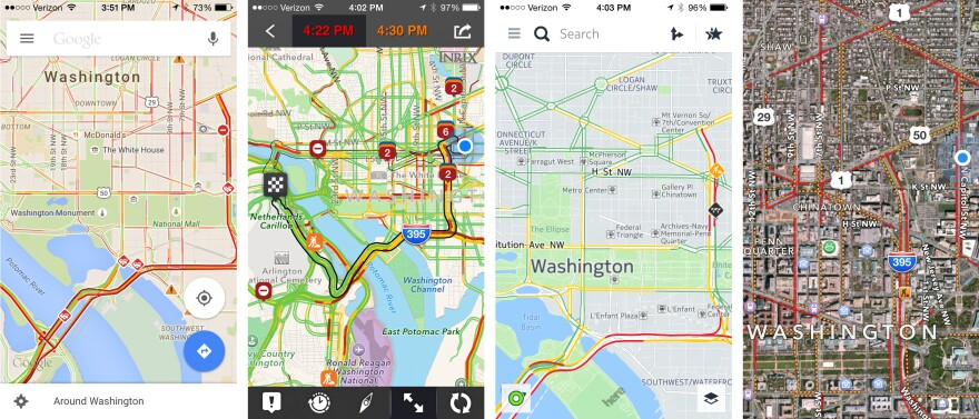 Four different apps can sometimes present four different routes. Screenshots of a few of the apps <em>All Things Considered </em>host Robert Siegel tested, from left to right: Google Maps, Inrix, Nokia Here, and Apple Maps.