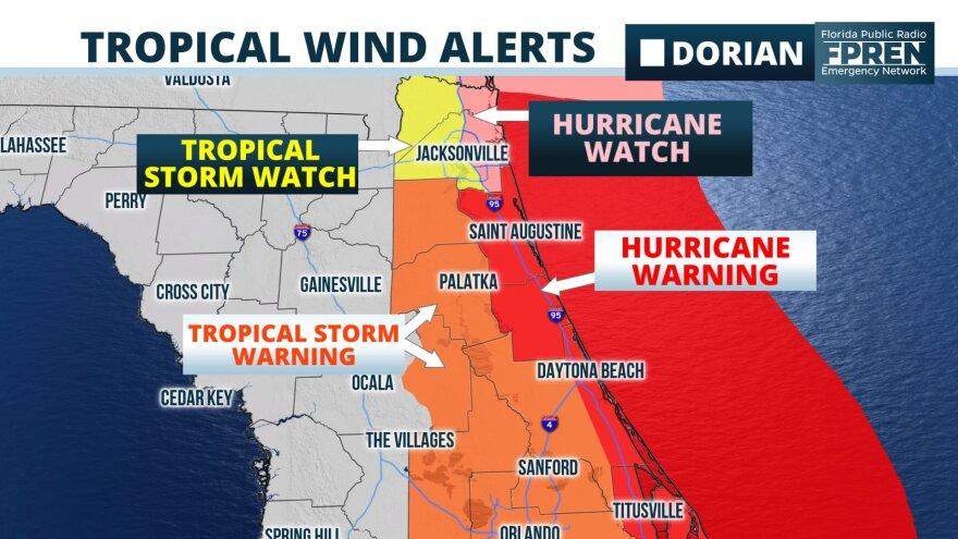Tropical wind alerts