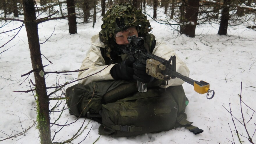 An Estonian soldier takes aim during a training exercise at Tapa Army Base, Estonia, on Nov. 17. U.S. troops were also taking part in the training, about 70 miles from the border with Russia. NATO countries are stepping up their presence in Eastern Europe at a time of rising tensions with Russia.