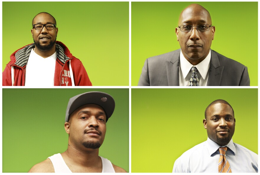 """<em>""""How do you become a man if you've never seen somebody be a man, if the people in your life have abdicated their responsibilities and left you as a little person?"""" </em>-- Joseph Jones, president and founder of the Center for Urban Families (top right). From top left, counterclockwise: class members Kenneth Edwards, Dimitri Maye and LaKeeth Blackmon."""