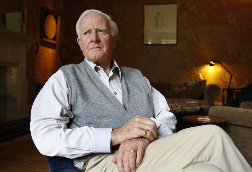 "Novelist John le Carré says he is ""haunted"" by current affairs. ""If we can make people feel that the social contract is back in place and they're part of it, then possibly we have a future,"" he says. Le Carré is shown above in his London home in 2008. His new novel is called <em>Agent Running in the Field.</em>"