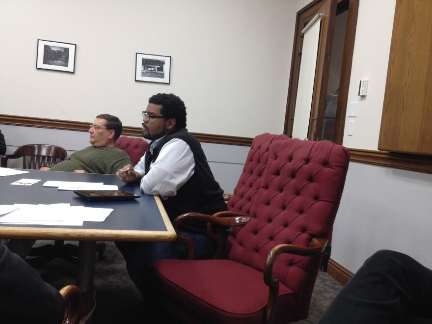 St. Louis Alderman Antonio French, D-21st Ward, listens in at a recent hearing of the Board of Aldermen's Legislative Committee.