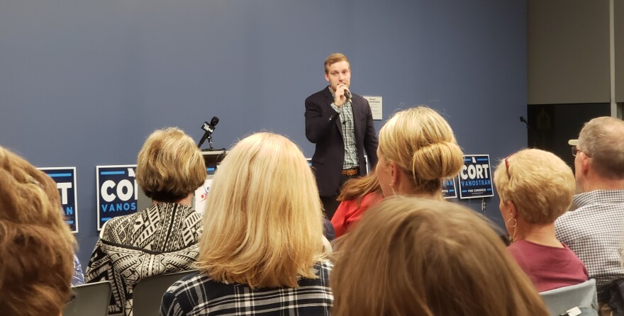 Democratic congressional candidate Cort VanOstran addresses potential supporters at a campaign event in west St. Louis County.