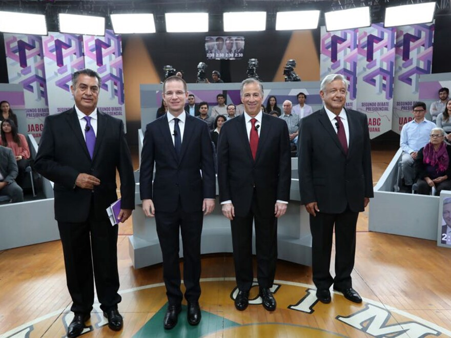 "In this photo released by the National Electoral Institute (INE), presidential candidates ( from left) independent Jaime Rodriguez, known as ""El Bronco,"" Ricardo Anaya of the Forward for Mexico Coalition, Jose Antonio Meade, of the Institutional Revolutionary Party, and Andres Manuel Lopez Obrador, with the MORENA party, attend the second of three debates in Tijuana, Mexico, on Sunday."