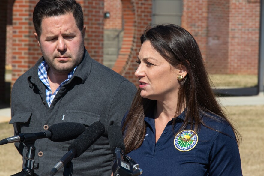 Nikki Fried speaking at a press conference.