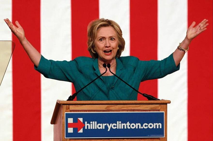 Dempcratic presidential nominee Hillary Clinton calls for an end to the U.S. trade embargo with Cuba in a speech at Florida International University Friday.