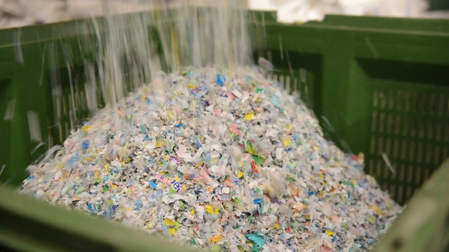 Material collected by TerraCycle is shredded for processing.