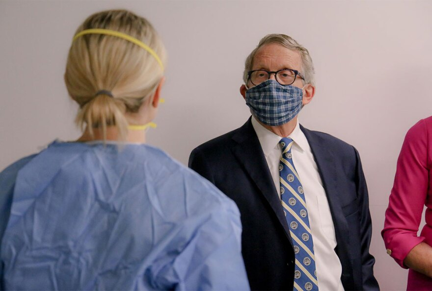 Ohio Gov. Mike DeWine wears a mask before his coronavirus press conference on June 23, 2020.