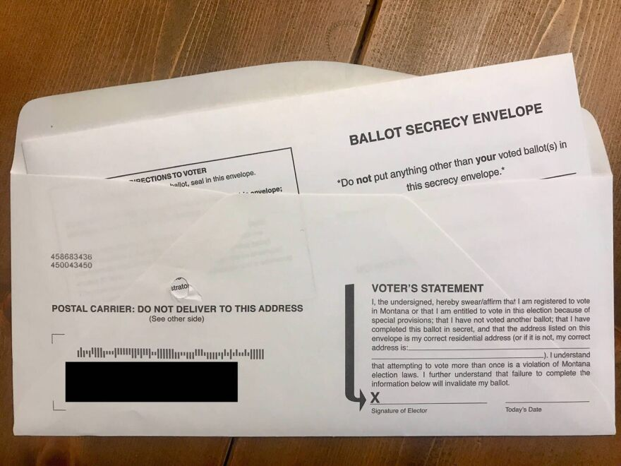 A Montana primary election ballot in its return envelope