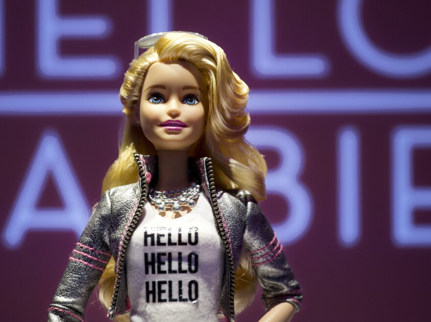 """Hello Barbie, shown above at the North American International Toy Fair in New York, is an interactive doll designed to have conversations with children. Author Sherry Turkle says the Barbie is an example of """"robotic companionship."""""""