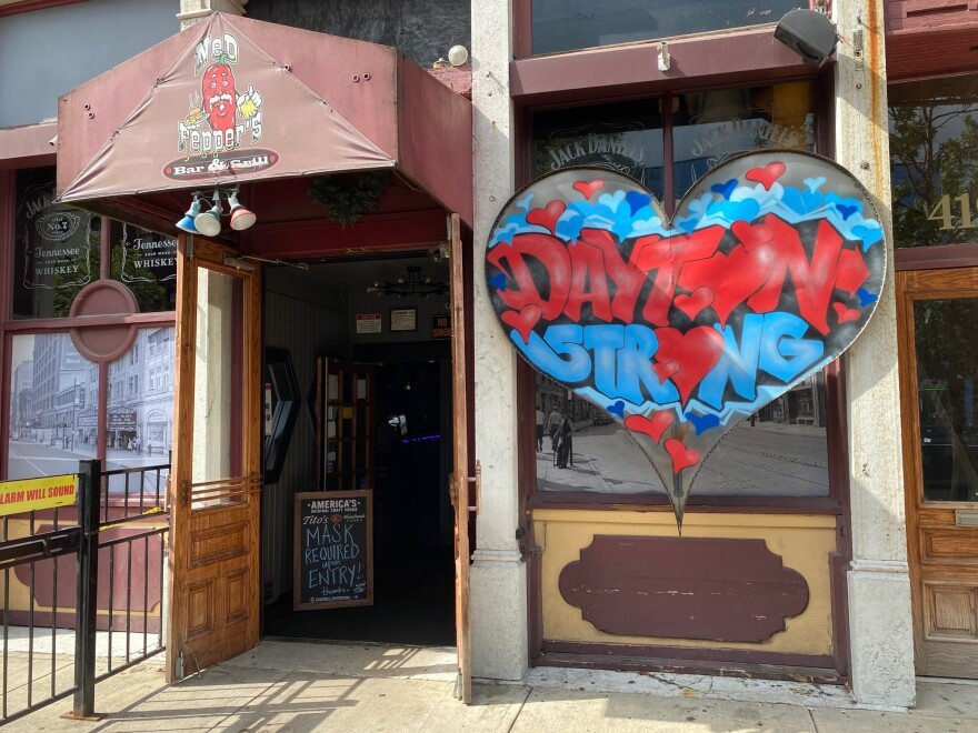 The Dayton Strong mural outside of Ned Peppers in the Oregon District
