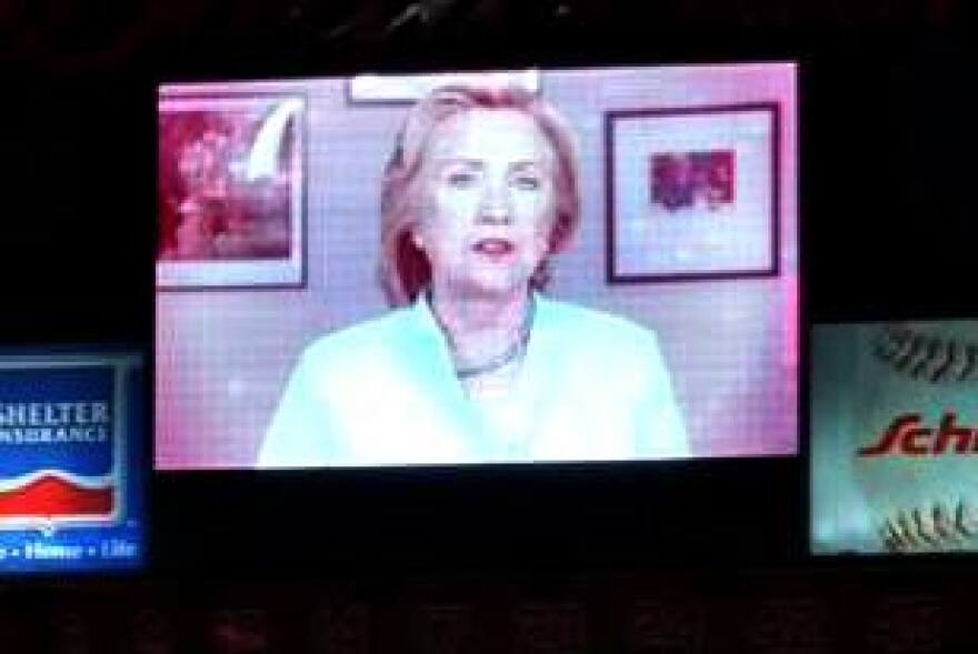 Hillary Clinton surprised Missouri Democrats at their Truman Dinner with a six minute address on telecast on the Busch Stadium Jumbotron.