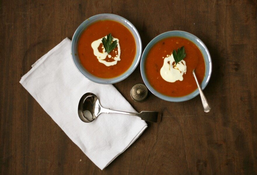 This recipe for pumpkin soup is featured in an action scene in the first Yashim novel, <em>The Janissary Tree.</em>