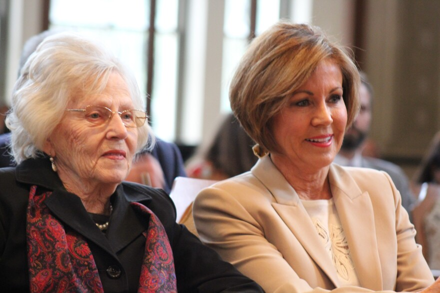 San Antonio City Manager Sheryl Sculley (right) retired in early 2019 after being city manger for 13 years. Here she sits with her mother at her retirment ceremony.