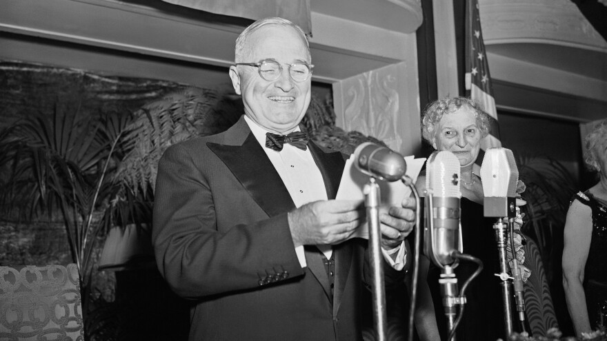 Political messaging is a long-standing tradition, as shown here by a beaming President Harry Truman speaking at the Women's National Democratic Club in 1949.