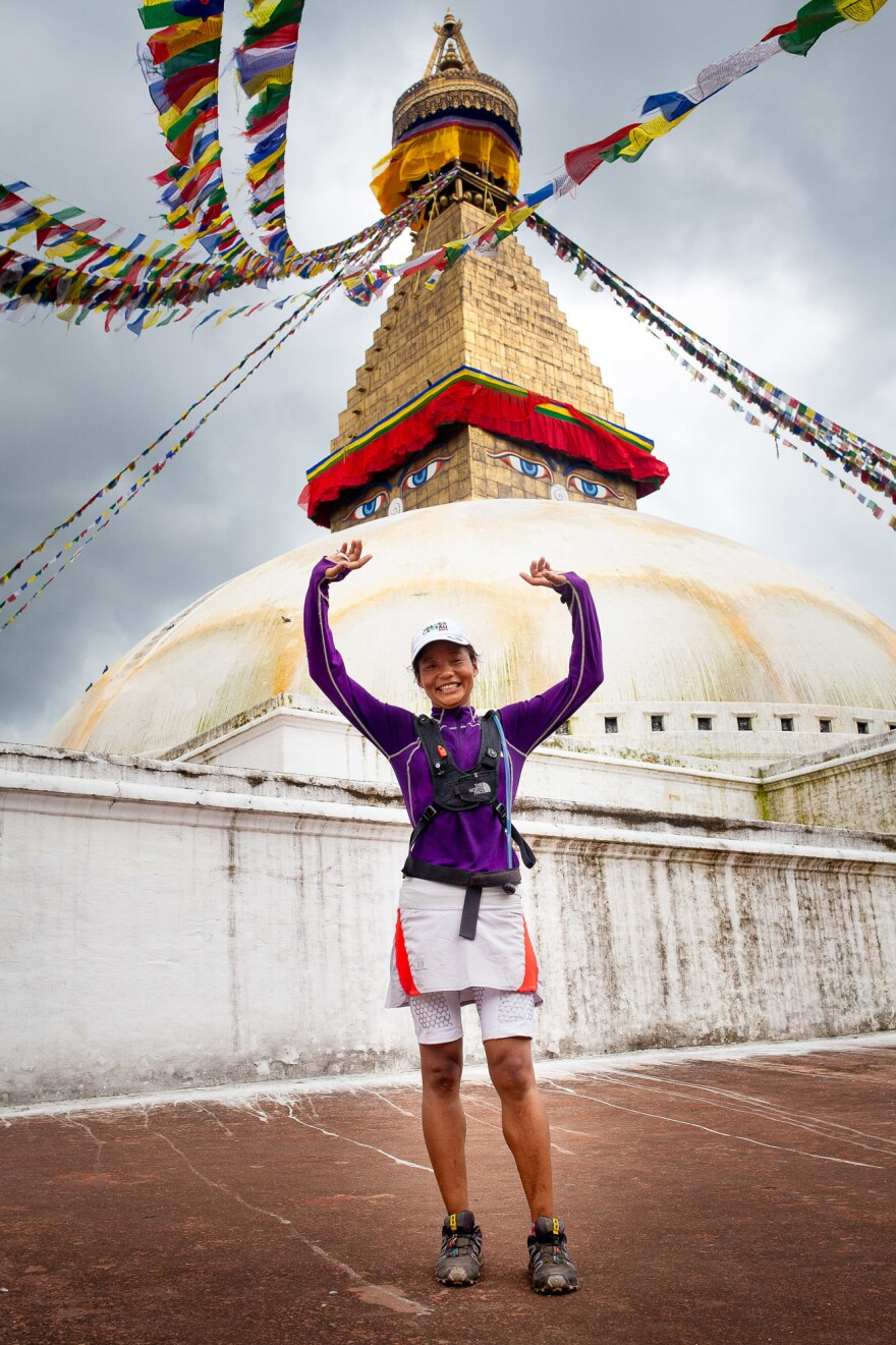 Rai ends an 18-mile training run at the Boudha Stupa, one of Nepal's most iconic Tibetan Buddhist monuments.