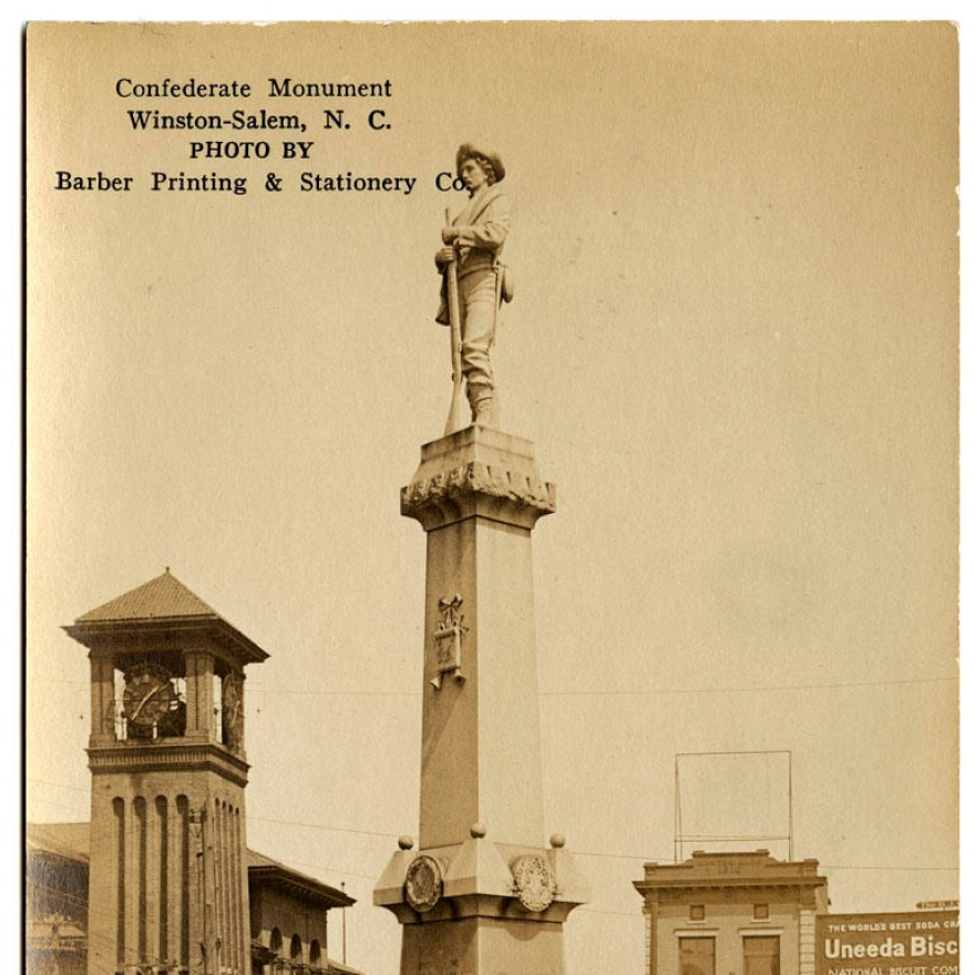 The City of Winston-Salem has told the group who owns the statue of the Confederate soldier to take it down or face possible legal action. Historic postcard from the Durwood Barbour Collection of North Carolina Postcards.