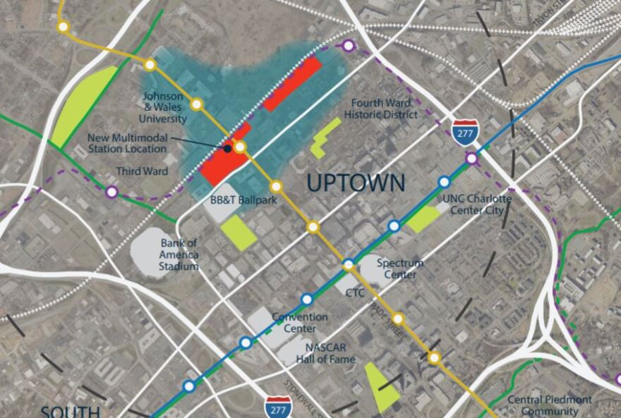 Map shows the location along West Trade Station for the Gateway Station (red), Charlotte Gateway District (blue area) and new parks that could be part of the project.