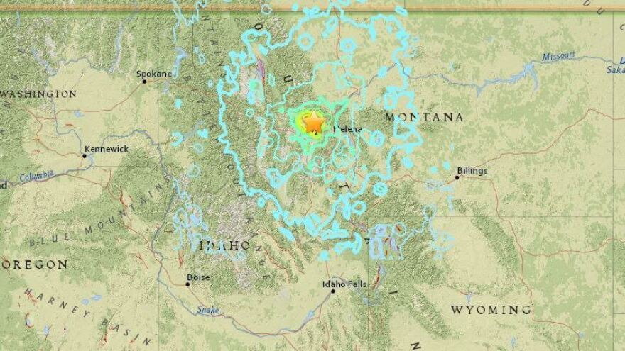 A map shows seismic activity around the site of a 5.8 magnitude earthquake that struck western Montana early Thursday.
