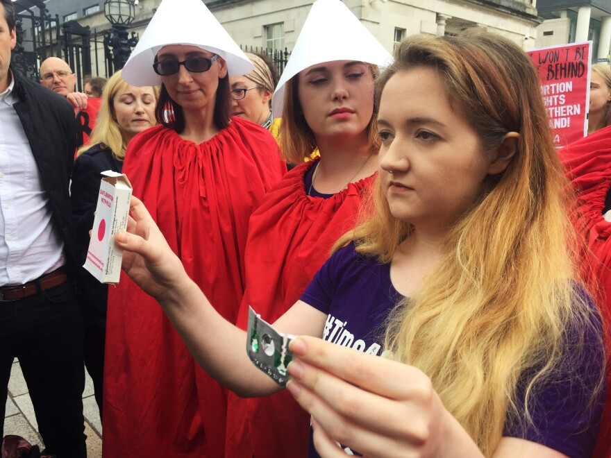 Activist Eleanor Crossey-Malone partakes in a demonstration in Belfast to legalize abortion in Northern Ireland.