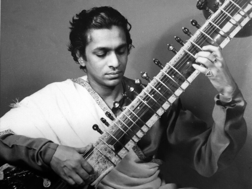 Pictured here in his late 20s, Ravi Shankar was hugely important in popularizing Indian classical music in Western pop music. He would have turned 100 years old today.