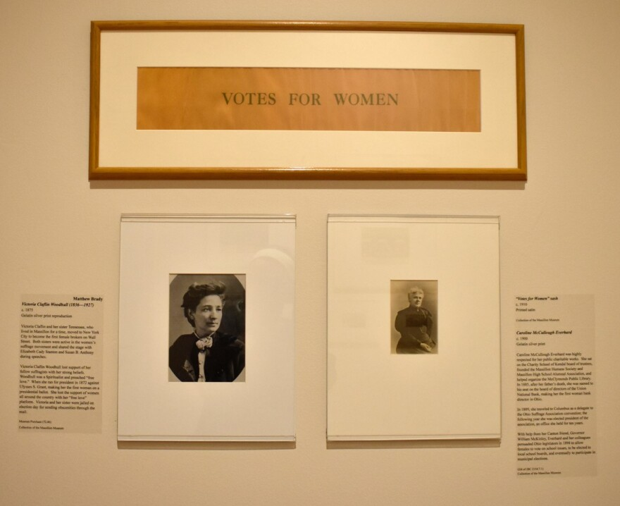 A photo of the women's suffrage panel in Massilon Museum's new local history gallery