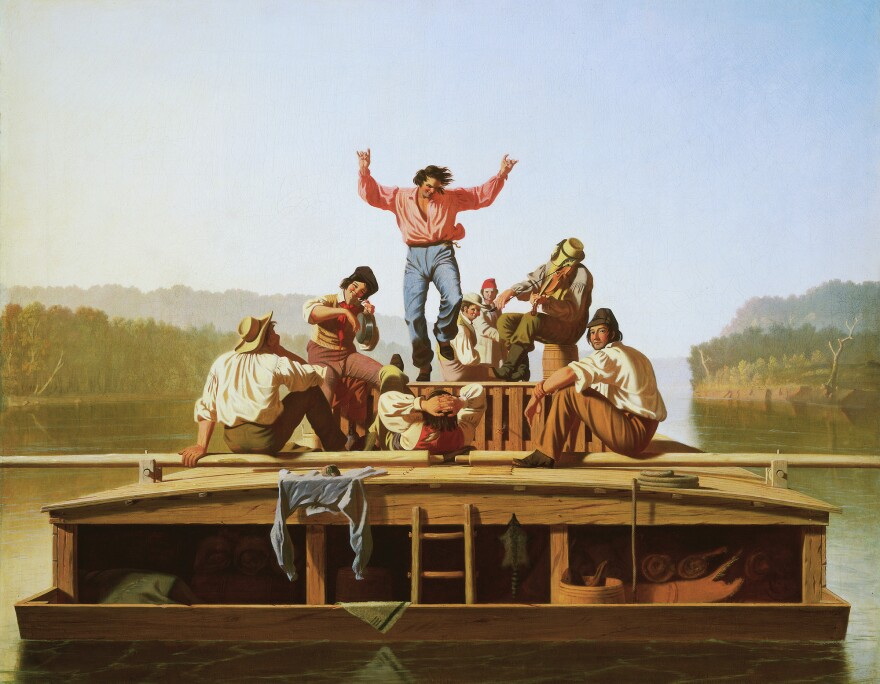 George Caleb Bingham's <em>The Jolly Flatboatmen</em> (1846) became wildly popular after an East Coast art union bought it and started disseminating it as a print.