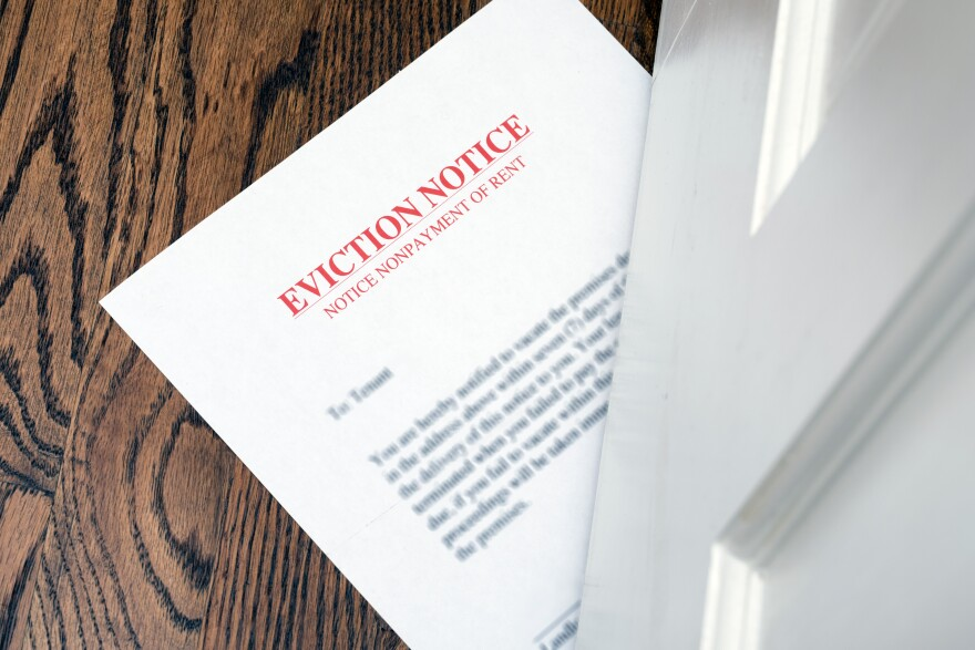A photo of an eviction notice