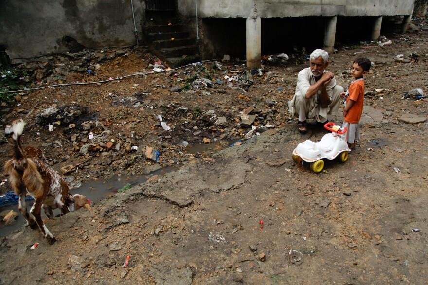 Trash is a part of Saidpur's landscape.