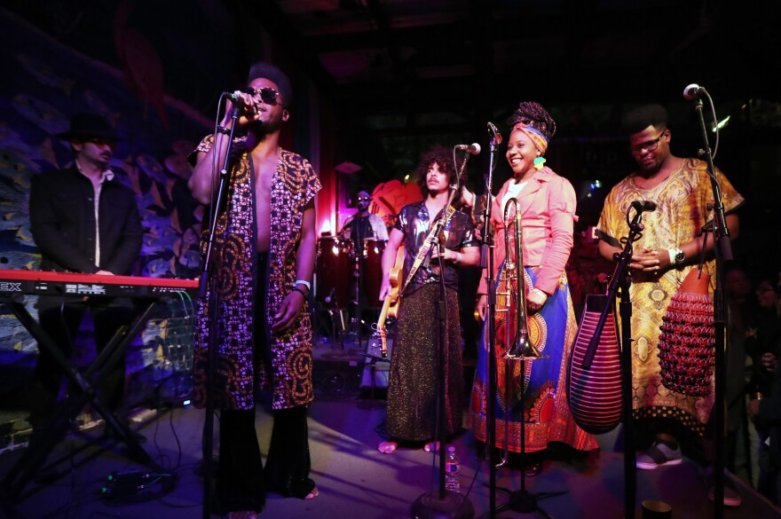 The Cuban band Cimafunk performs onstage for NPR's <em>Alt.Latino</em> showcase during SXSW 2019.
