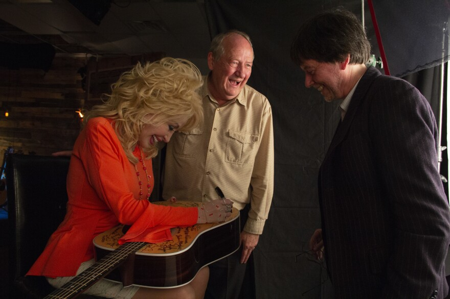 Dolly Parton appears in <em>Country Music,</em> the new PBS documentary series from Dayton Duncan (center) and Ken Burns.