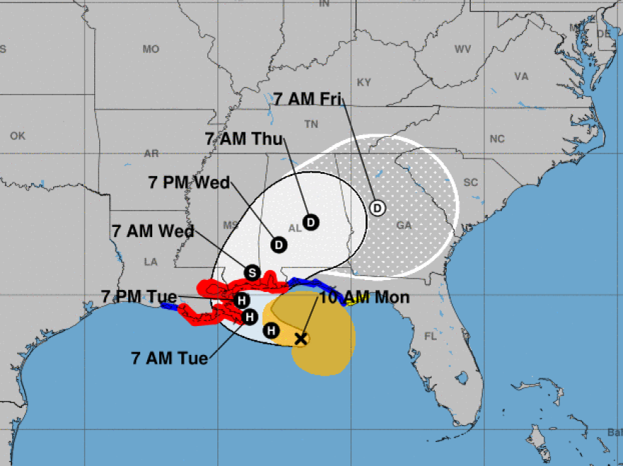 Hurricane Sally is forecast to make landfall on the Gulf Coast on Tuesday, possibly in the area east of Gulfport, Miss.