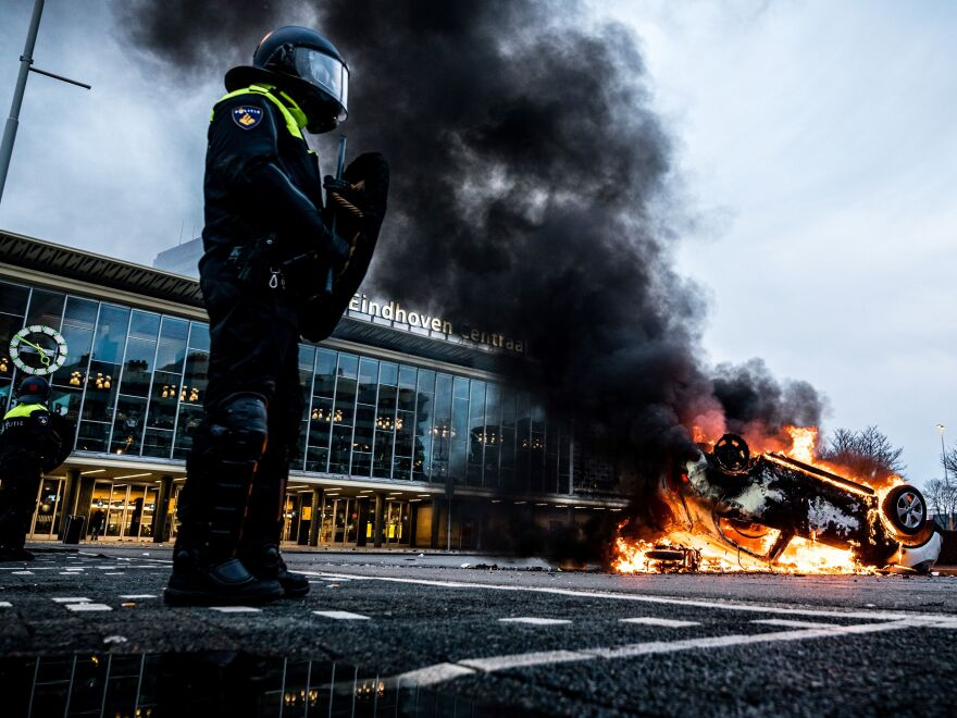 Protesters of new lockdown measures in the Netherlands burned cars and COVID-19 testing sites, and fought with police.