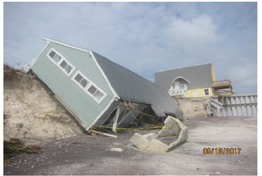 A St. Johns building damaged due to erosion from Hurricane Irma.
