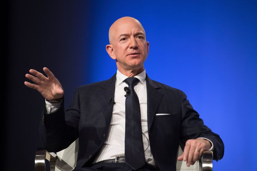 Amazon founder Jeff Bezos delivers the keynote address at the Air Force Association's Annual Air, Space & Cyber Conference in Oxen Hill, Md., on Sept. 19.